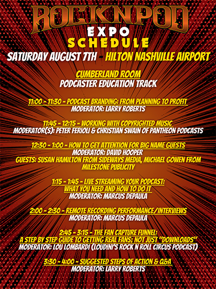 ROCKNPOD Expo Saturday Schedule